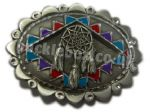 North American Indian Dream Catcher Shield Belt Buckle + display stand. Code MK3